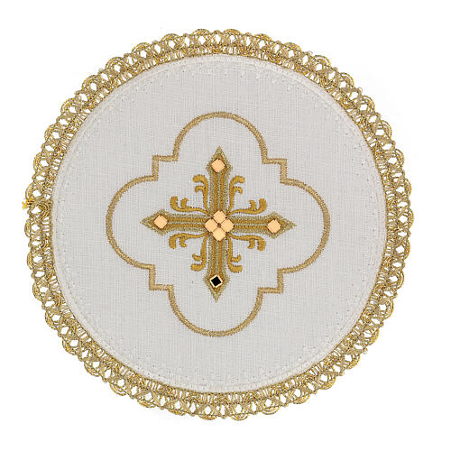 Round altar linen set, 4 pcs 100% LINEN gold embroidered Limited Edition 1