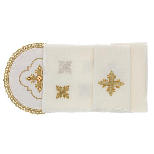 Round altar linen set, 4 pcs 100% LINEN gold embroidered Limited Edition 2