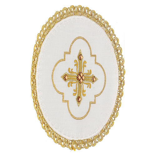 Round altar linen set, 4 pcs 100% LINEN gold embroidered Limited Edition 3