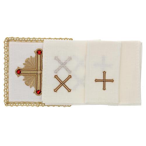 Servicio misa 4 piezas 100% HILO motivos oro rojos Limited Edition 2