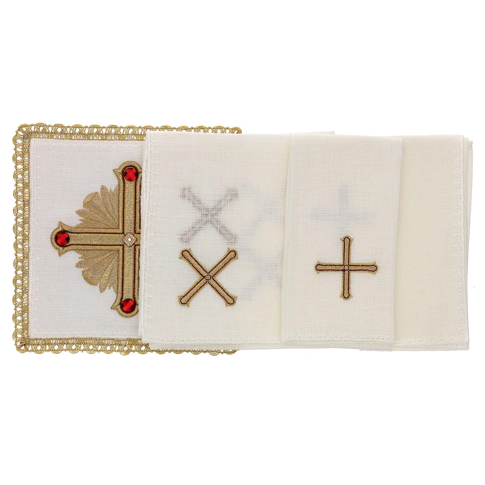 Linge autel 4 pcs 100% LIN décorations or rouge Édition Limitée 4