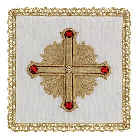 Linge autel 4 pcs 100% LIN décorations or rouge Édition Limitée s1