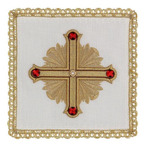 Linge autel 4 pcs 100% LIN décorations or rouge Édition Limitée 1