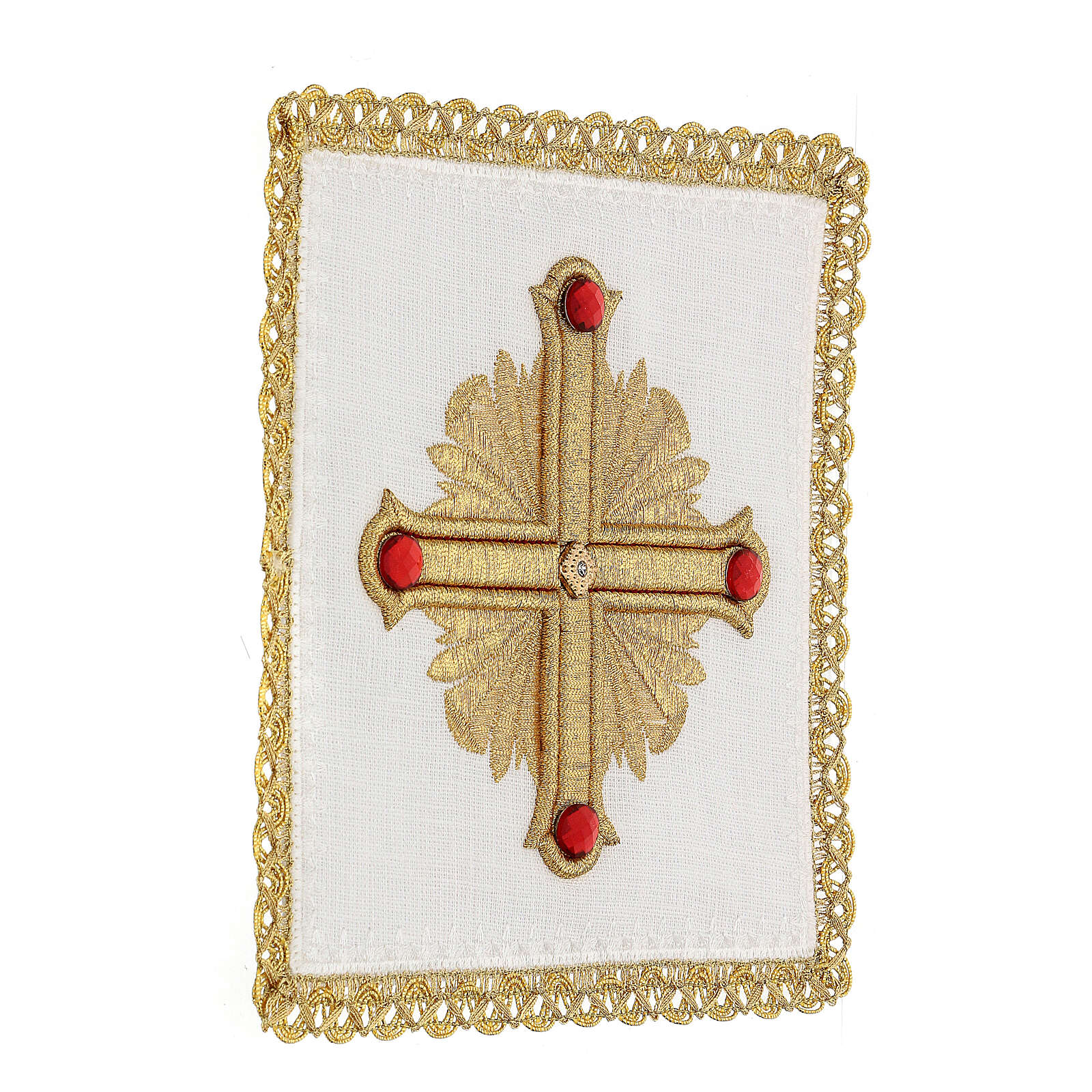 Altar cloth set 4 pieces, 100% LINEN gold red cross embroidery Limited Edition 4