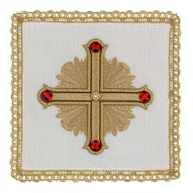 Altar cloth set 4 pieces, 100% LINEN gold red cross embroidery Limited Edition s1