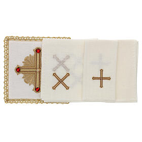 Altar cloth set 4 pieces, 100% LINEN gold red cross embroidery Limited Edition s2