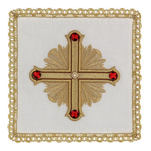 Altar cloth set 4 pieces, 100% LINEN gold red cross embroidery Limited Edition 1