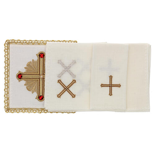 Altar cloth set 4 pieces, 100% LINEN gold red cross embroidery Limited Edition 2