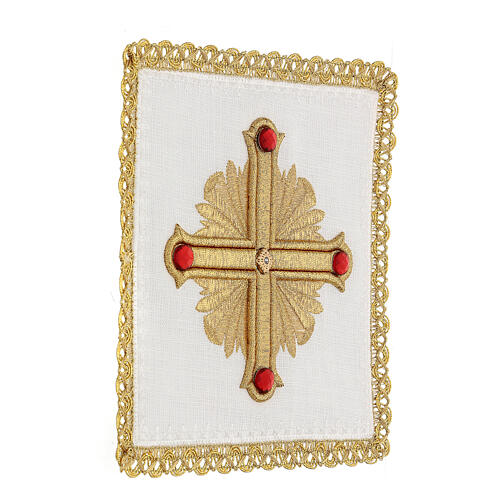 Altar cloth set 4 pieces, 100% LINEN gold red cross embroidery Limited Edition 3