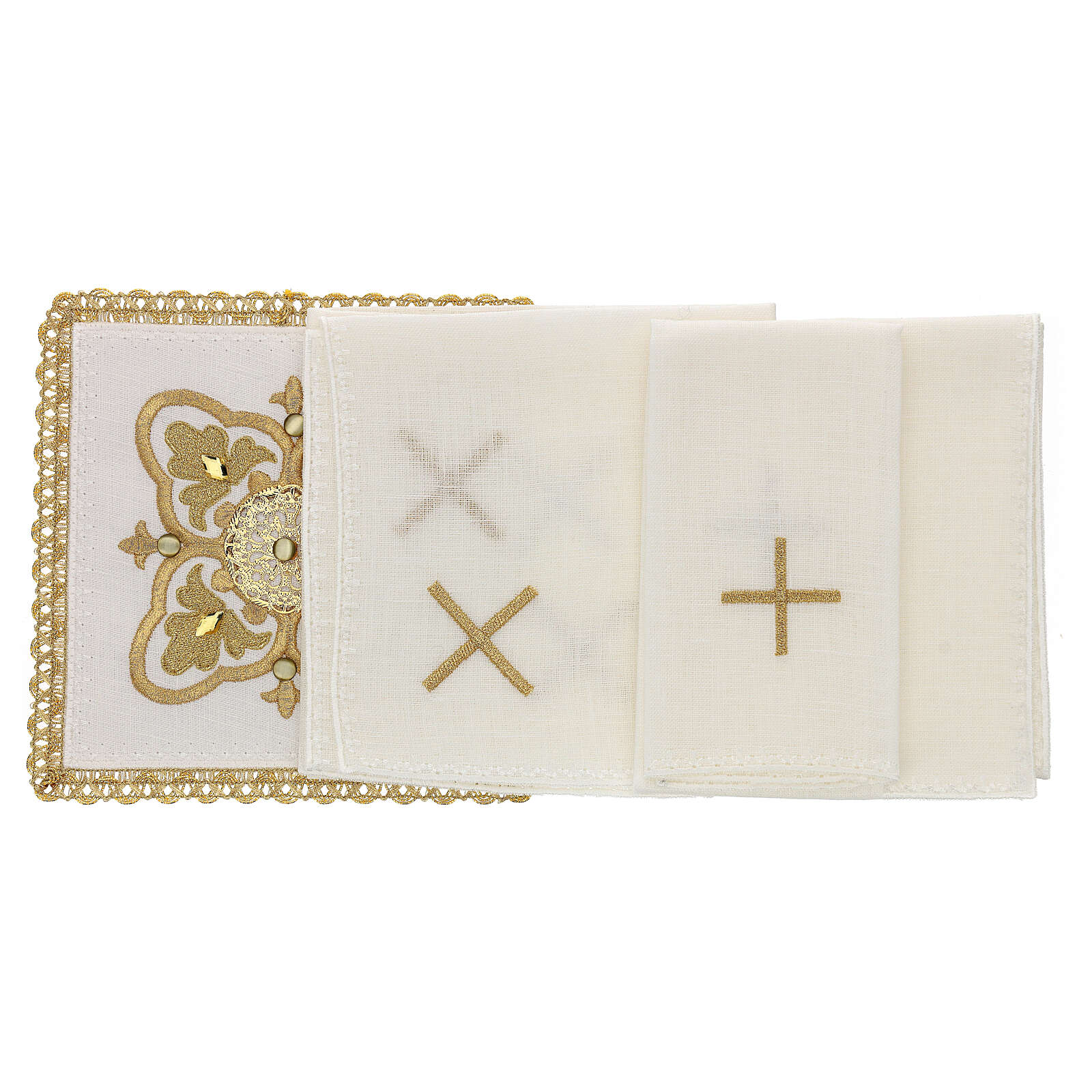 Church linen set 4 pcs, 100% linen gold embroidered Limited Edition 4