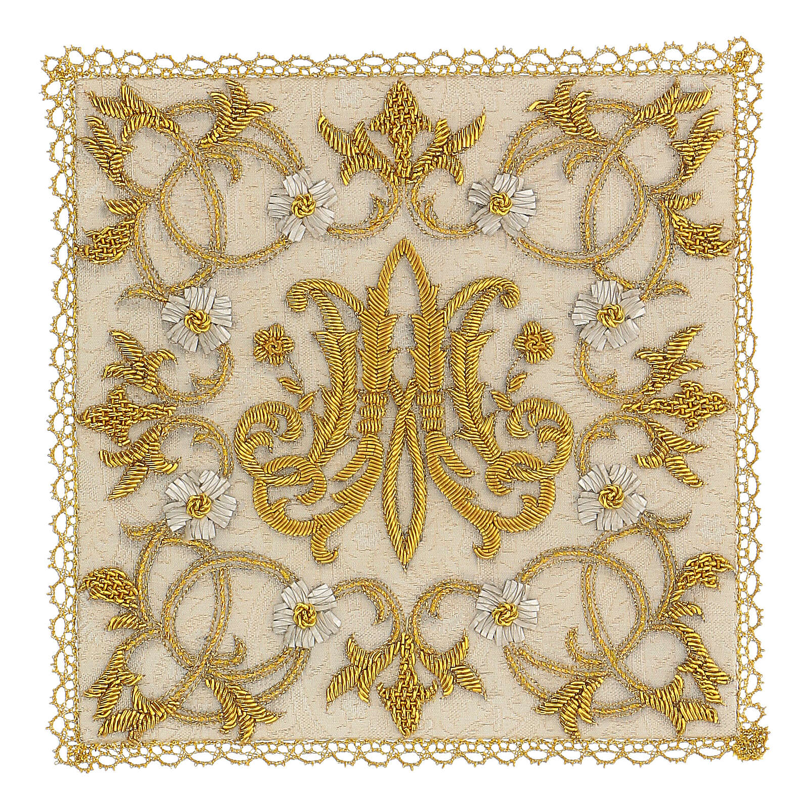Chalice veil (pall) Marian with satin hand embroidery 4