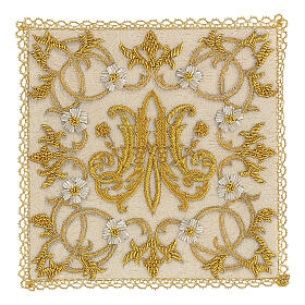 Chalice veil (pall) Marian with satin hand embroidery s1