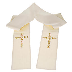 Estola sacerdotal écru cruz dourada flores s1