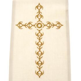 Estola sacerdotal écru cruz dourada flores s2