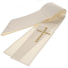 Estola sacerdotal écru cruz dourada flores s4