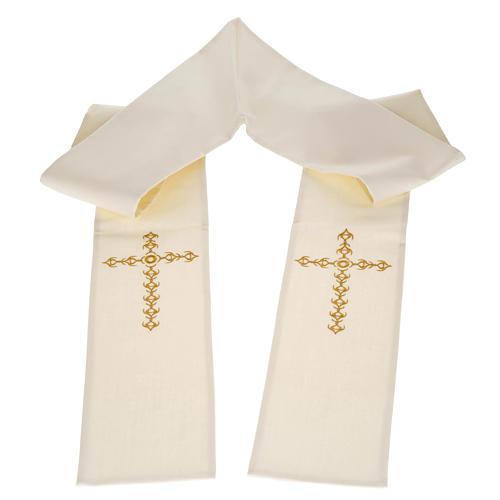 Estola sacerdotal écru cruz dourada flores 1