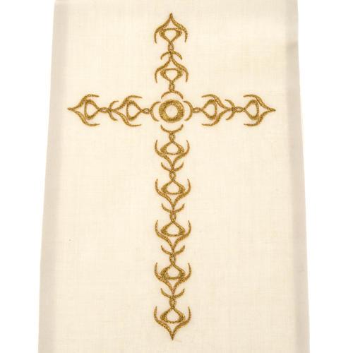 Estola sacerdotal écru cruz dourada flores 2