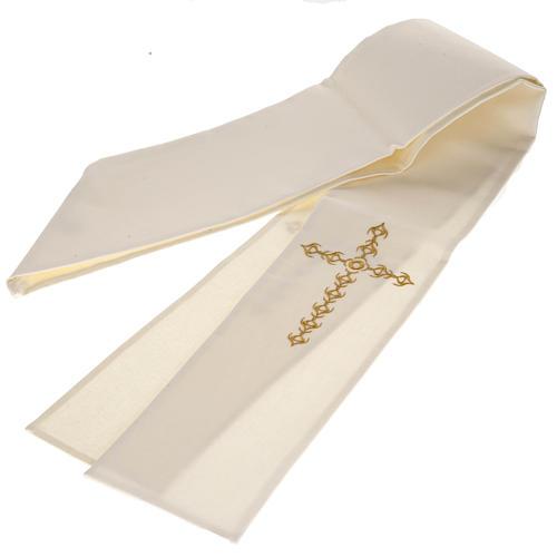 Estola sacerdotal écru cruz dourada flores 4