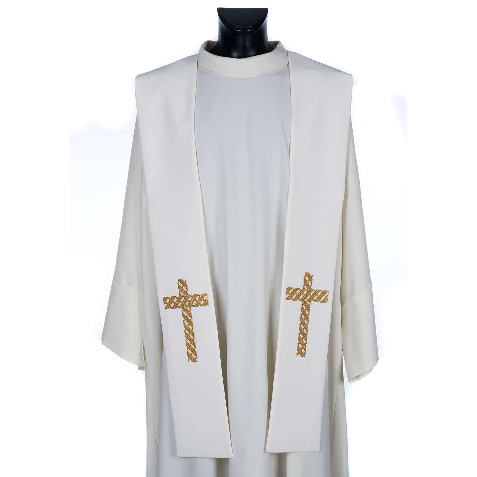 Estola sacerdotal ecru cruz dorada bordada 4