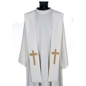 Estola sacerdotal ecru cruz dorada bordada s1