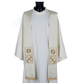 Priest stole in shantung, golden embroidery s1