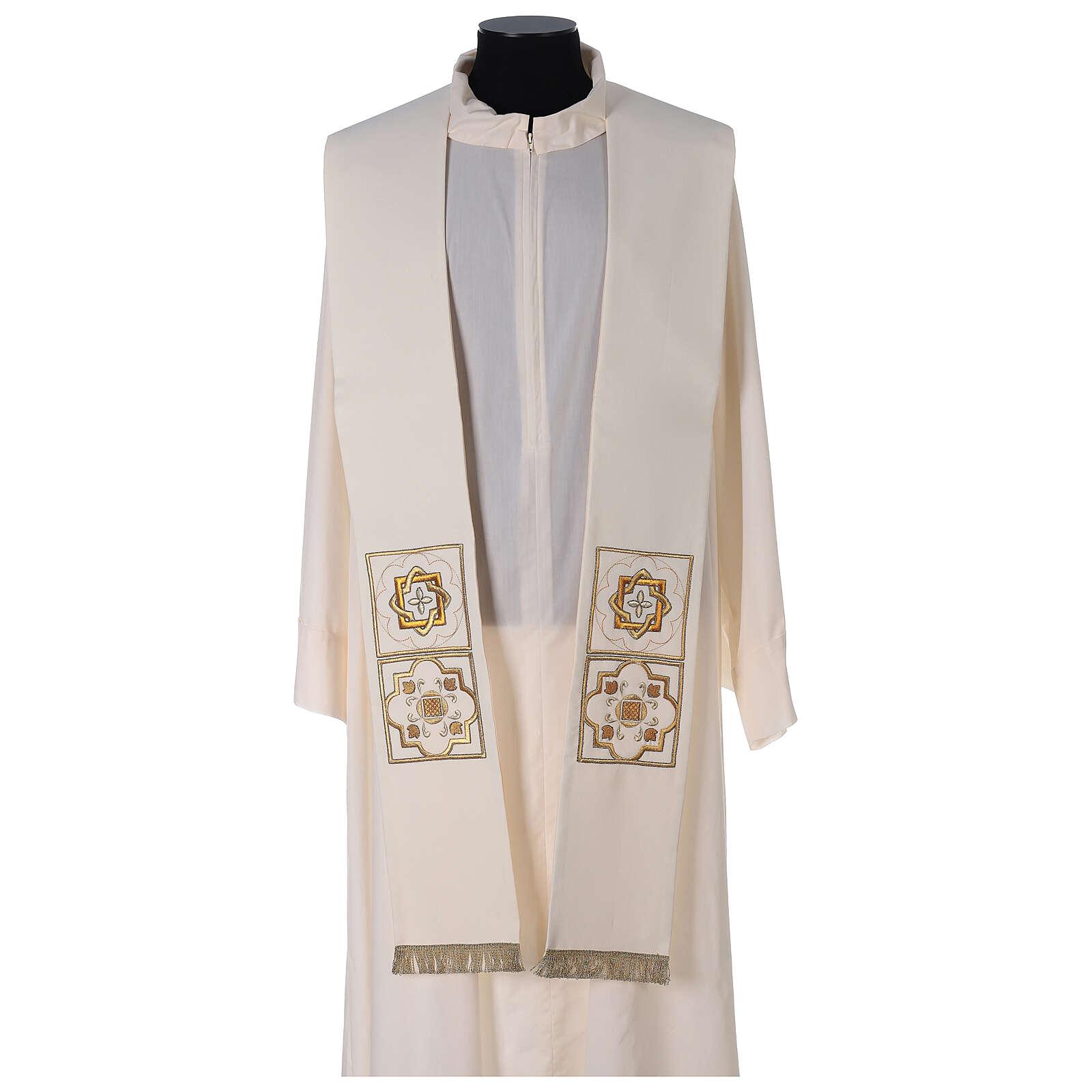 Stola poliestere ricamo dorato riquadri 4