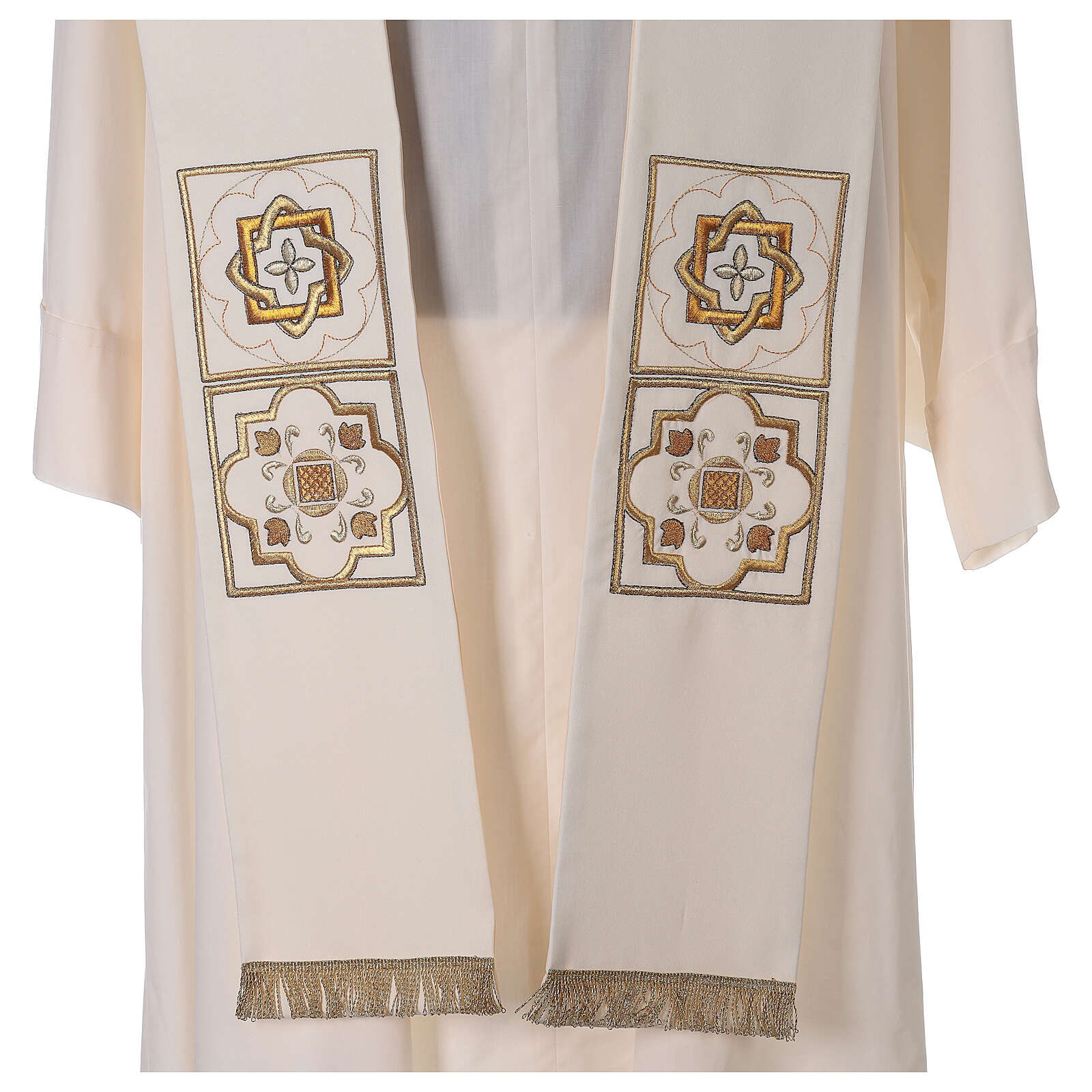 Shantung overlay stole with golden embroidery 4