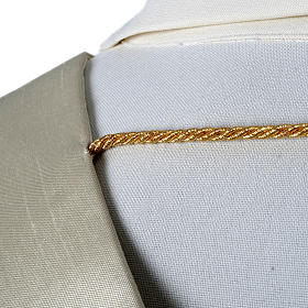 Shantung overlay stole with golden embroidery s5