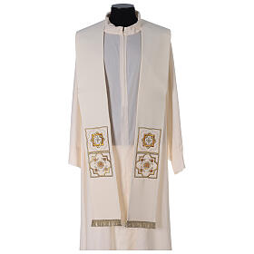 Shantung overlay stole with golden embroidery s1