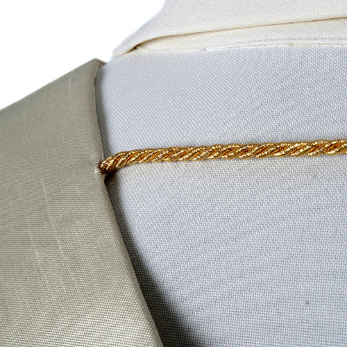 Shantung overlay stole with golden embroidery 5
