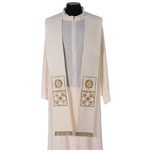 Shantung overlay stole with golden embroidery 1