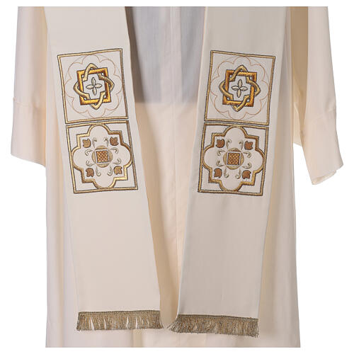 Shantung overlay stole with golden embroidery 2