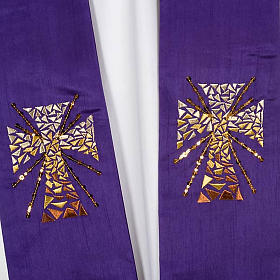 Clergy stole in shantung, cross with rays s4