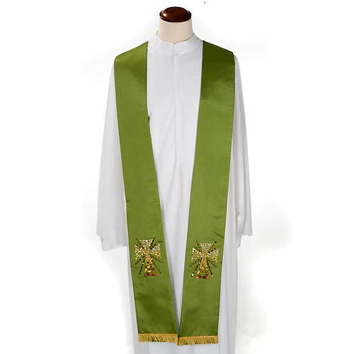 Clergy stole in shantung, cross with rays 1