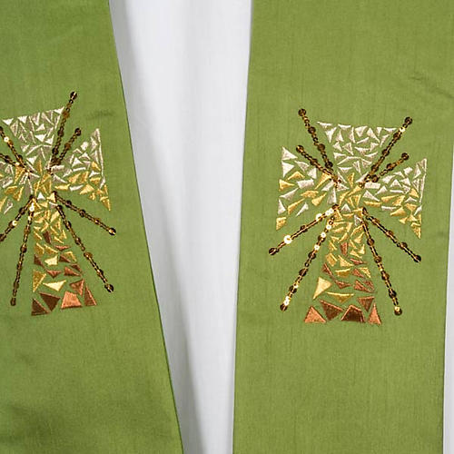 Clergy stole in shantung, cross with rays 3