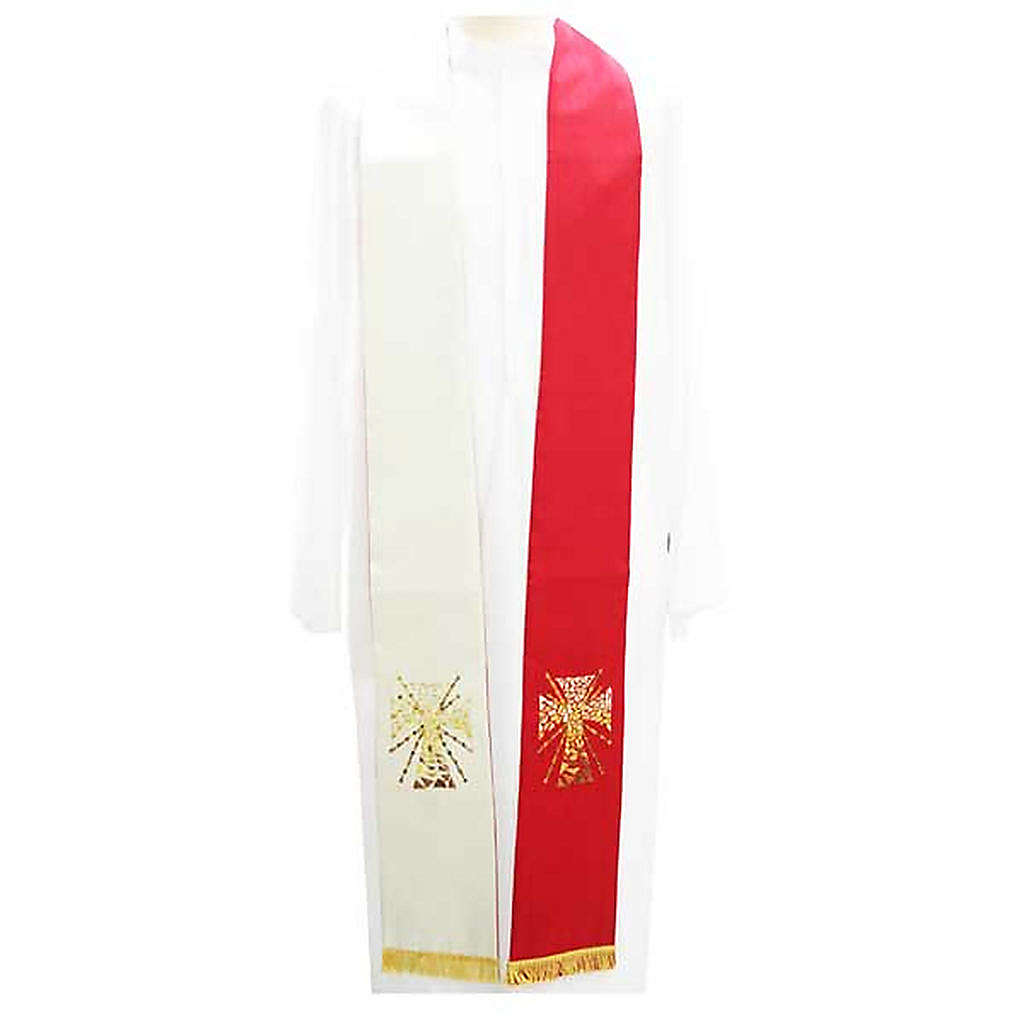 Overlay stole in shantung, cross with rays 4