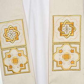 Estolón shantung decoraciones doradas cuadrados s7