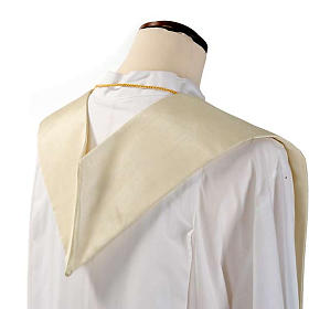 Overlay stole in shantung, golden embroidery s8