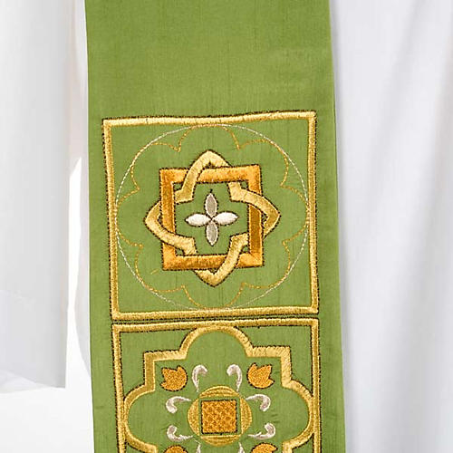Overlay stole in shantung, golden embroidery 5
