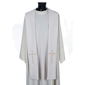 Étole liturgique avec croix dorées fleurs double face s3