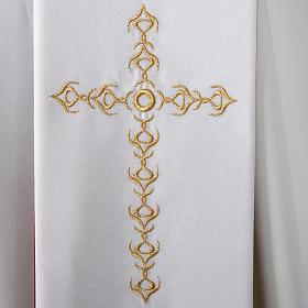 Étole liturgique avec croix dorées fleurs double face s4