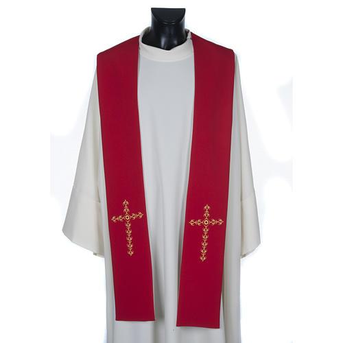 Étole liturgique avec croix dorées fleurs double face 1