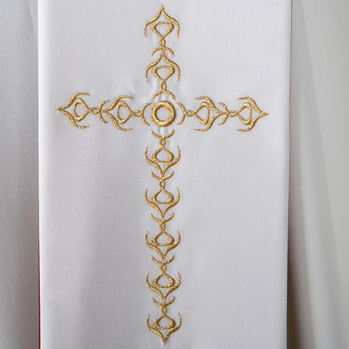 Étole liturgique avec croix dorées fleurs double face 4