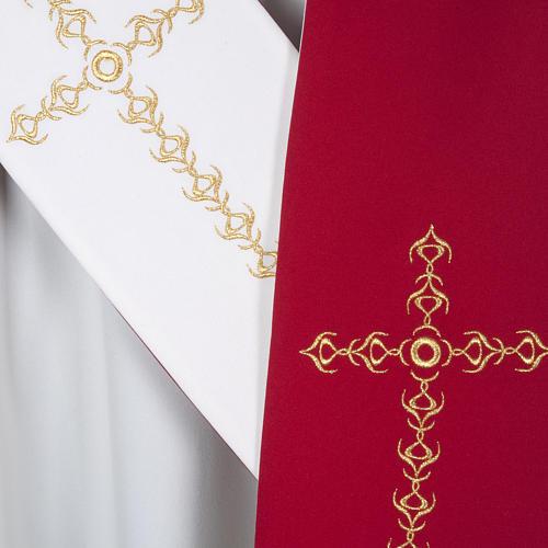 Étole liturgique avec croix dorées fleurs double face 5