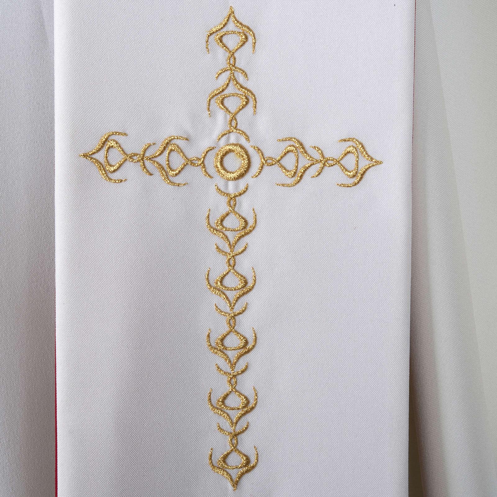Stolone liturgico croci dorate fiori double face 4