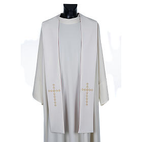 Stolone liturgico croci dorate fiori double face s3