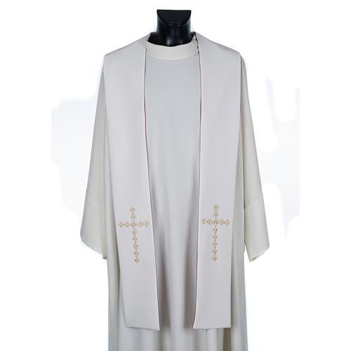 Stolone liturgico croci dorate fiori double face 3