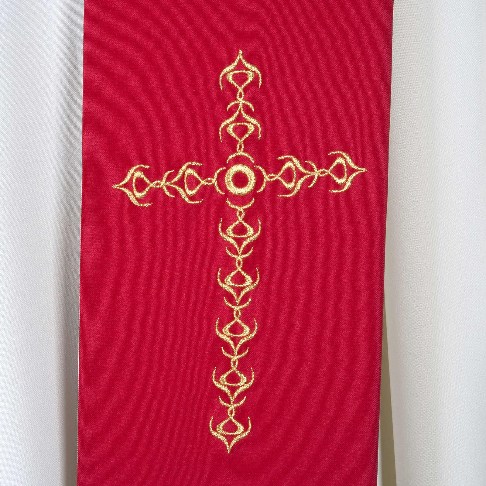Stuła kapłańska szeroka złote krzyże kwiaty dwukolorowa 4