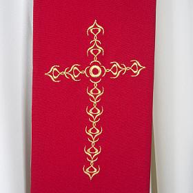 Stuła kapłańska szeroka złote krzyże kwiaty dwukolorowa s2
