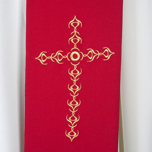 Stuła kapłańska szeroka złote krzyże kwiaty dwukolorowa 2